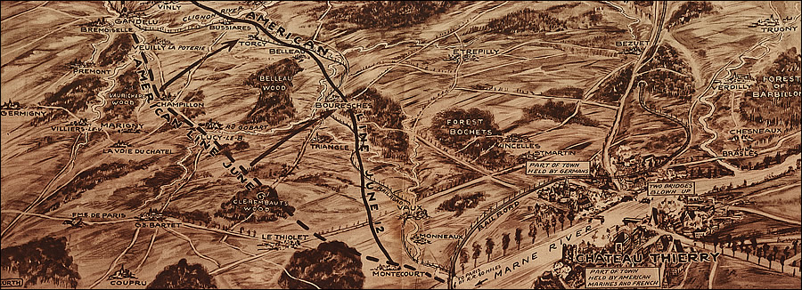 Map of Chateau Thierry in France 1918