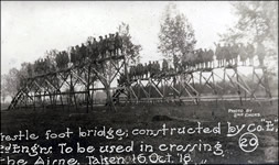 "Trestle foot bridge; constructed by Co. ""E,"" 2d Eng'rs. To be used in crossing the Aisne. Taken 16, Oct. '18."