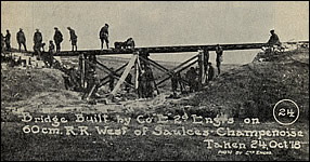 "Bridge Built by Company ""E"" 2d Engrs. on 60 cm. R. R. West of Saulces-Champenoises, 24 Oct, '18"