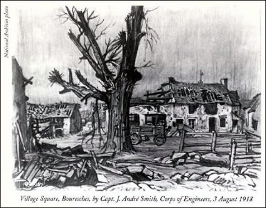 Village Square, Bouresches, by Capt. J. Andre Smith,  Corps of Engineers, 3 August 1918