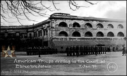 American Troops drilling in the Court at Ehrenbreitstein. 7, Jan. 1919.