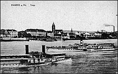 Excursion boats at Engers, Germany
