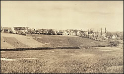 The town of Belleau, with Belleau Woods on the left, with Hill No. 193 the German position of resistance on the right.