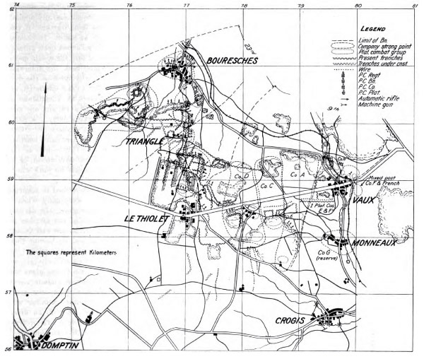 Map of 2nd Engineers participation at Belleau Wood