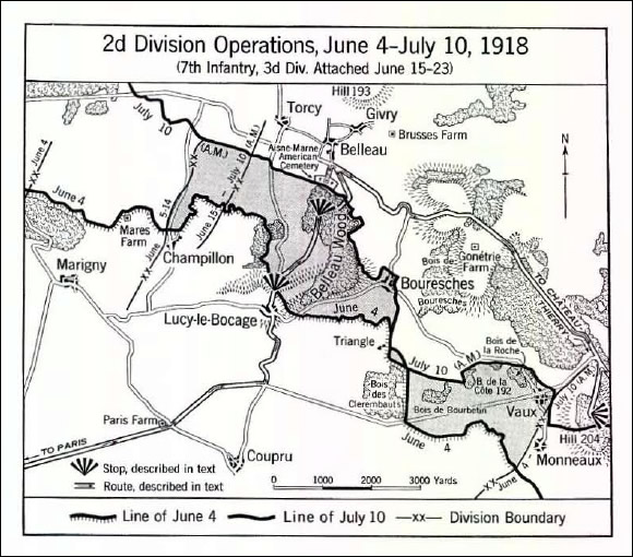 Map of 2d Division Operations, June 4 - July 10, 1918
