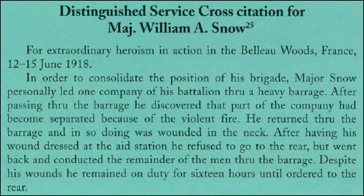 Distinguished Service Cross citation for Maj. William A. Snow