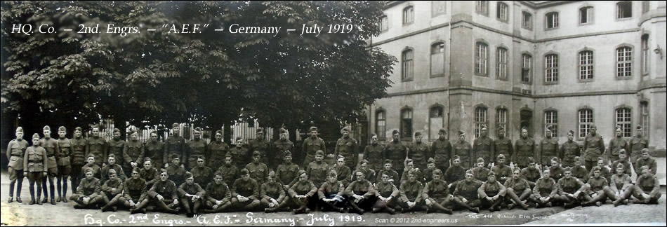 "HQ. Co. — 2nd. Engrs. — ""A.E.F."" — Germany — July 1919"