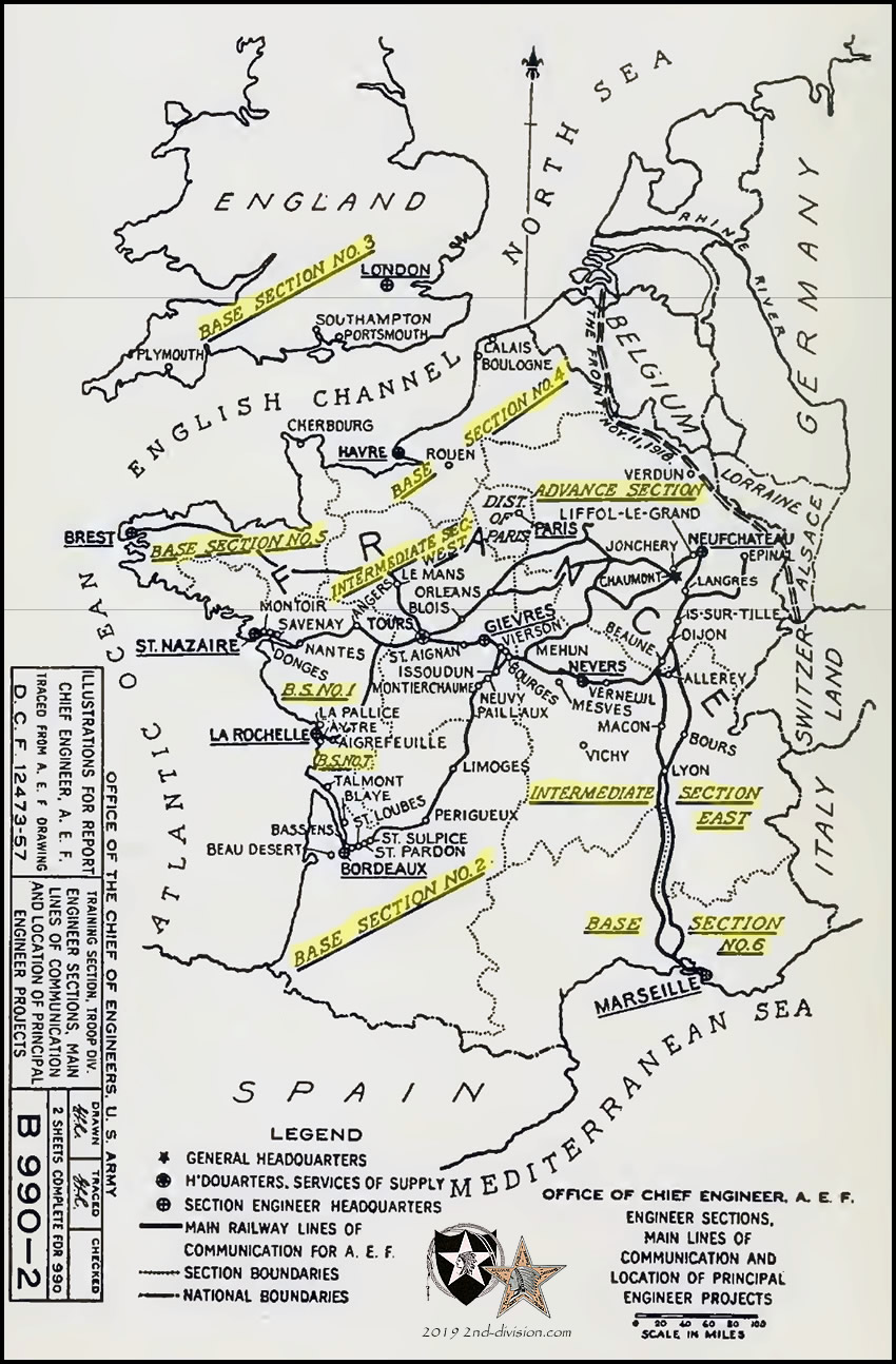 Map Of France Ww1.Map Of Base Sections In France And England During Ww1